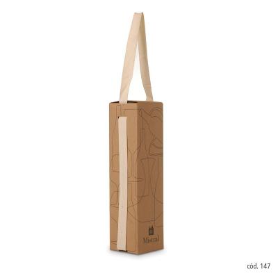 Caixa Mistral com alça de fita para 1 garrafa