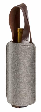 Porta Vinhos Mistral em feltro com alça de couro para 1 garrafa - Mescla