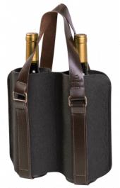 Porta Vinhos Mistral em feltro com alça de couro para 2 garrafas - Cinza Chumbo