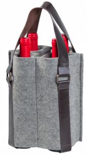 Porta Vinhos Mistral em feltro com alça de couro para 4 garrafas - Mescla