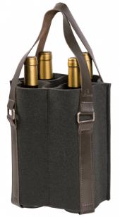 Porta Vinhos Mistral em feltro com alça de couro para 4 garrafas - Cinza Chumbo