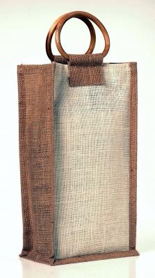 Sacola com alça de bambu para 2 garrafas