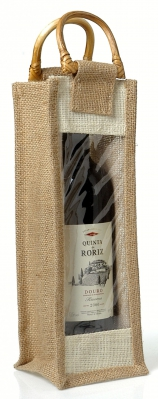 Sacola Mistral com janela de PVC e alça de cana para 1 garrafa