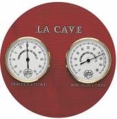 Conjunto La Cave com termômetro e higrômetro analógicos em suporte de madeira - L'Esprit & le Vin