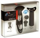 Kit Presente 1, composto de saca-rolhas Twister, bico servidor e conservador de vinhos à vácuo Concerto
